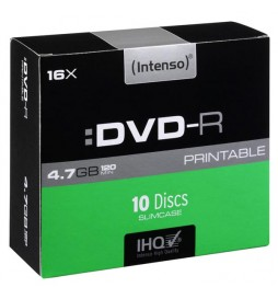 Intenso DVDR, 4801652, 10pack, 4.7GB, 16x, 12cm, Standard, slim case, printable, do archiwizacji danych